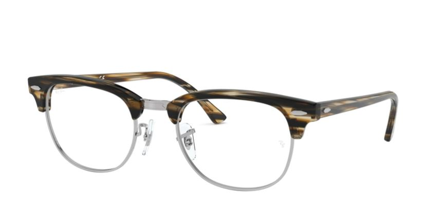 Ray-Ban Model: RX 5154 CLUBMASTER, Colour Code: 5749, Frame Colour: BROWN GREY STRIPED