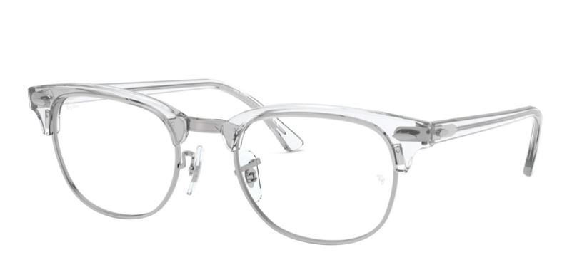 Ray-Ban Model: RX 5154 CLUBMASTER, Colour Code: 2001, Frame Colour: WHITE TRANSPARENT