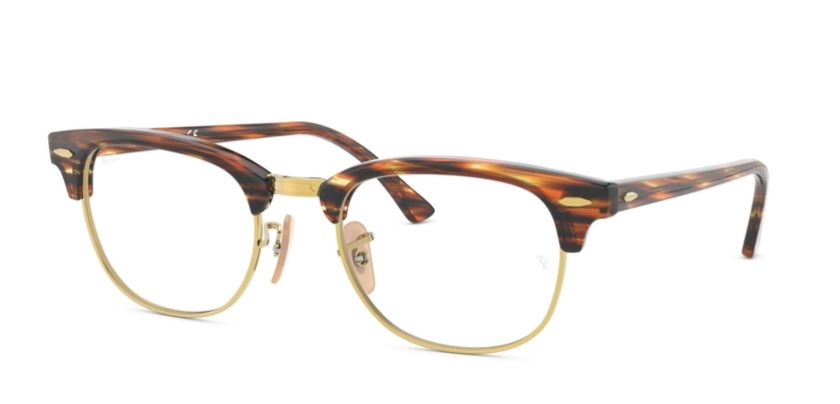 Ray-Ban Model: RX 5154 CLUBMASTER, Colour Code: 5751, Frame Colour: BROWN BEIGE STRIPED