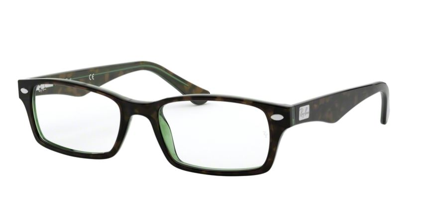 Ray-Ban Model: RX 5206, Colour Code: 2445, Frame Colour: HAVANA GREEN
