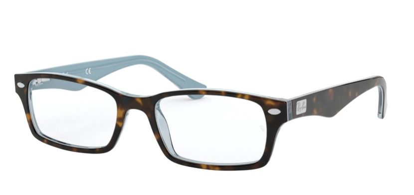 Ray-Ban Model: RX 5206, Colour Code: 5023, Frame Colour: TOP HAVANA ON BLUE