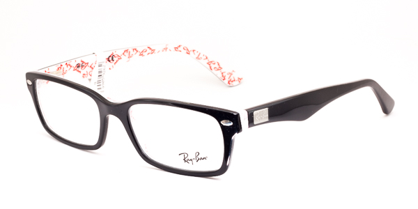Ray-Ban Model: RX 5206, Colour Code: 5014, Frame Colour: BLACK ON WHITE TEXTURE