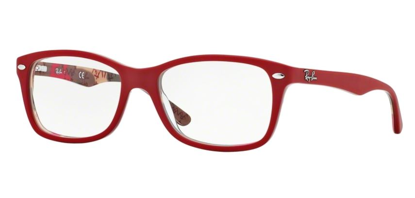Ray-Ban Model: RX 5228, Colour Code: 5406, Frame Colour: MATT RED ON CAMUFLAGE
