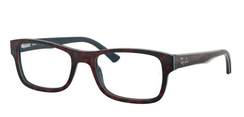 Ray-Ban Model: RX 5268, Colour Code: 5973, Frame Colour: TOP RED HAVANA ON OPAL BLUE