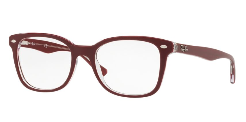 Ray-Ban Model: RX 5285, Colour Code: 5738, Frame Colour: TOP BORDEAUX ON TRANSPARENT