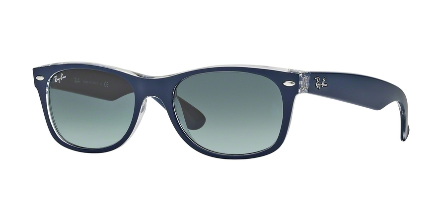 Ray-Ban Model: RB 2132 NEW WAYFARER, Colour Code: 605371, Frame Colour: Top matte blue on transparent