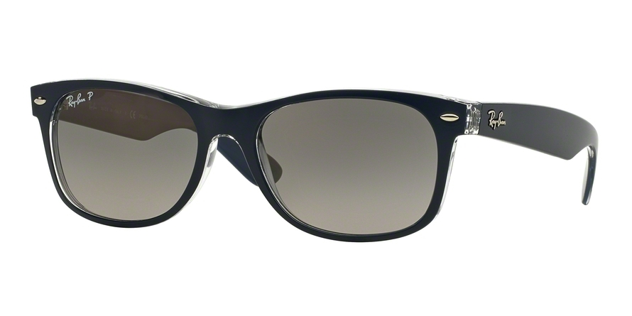 Ray-Ban Model: RB 2132 NEW WAYFARER, Colour Code: 6053M3, Frame Colour: Top blue on transparent