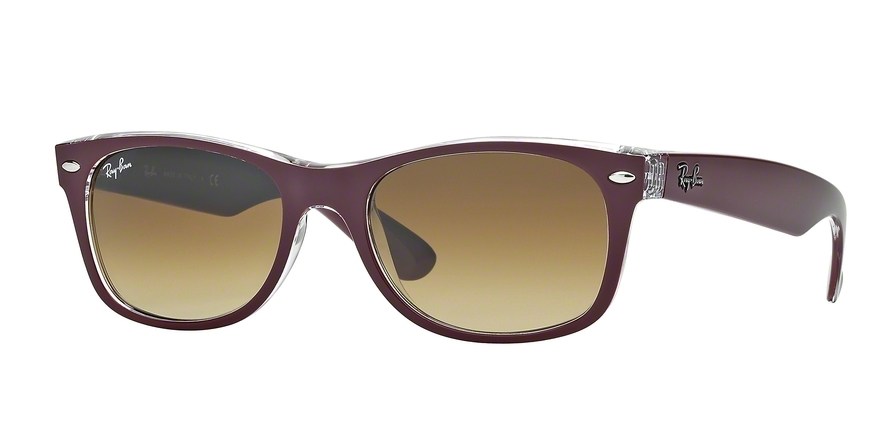 Ray-Ban Model: RB 2132 NEW WAYFARER, Colour Code: 605485, Frame Colour: Top matte bordeaux on transparent