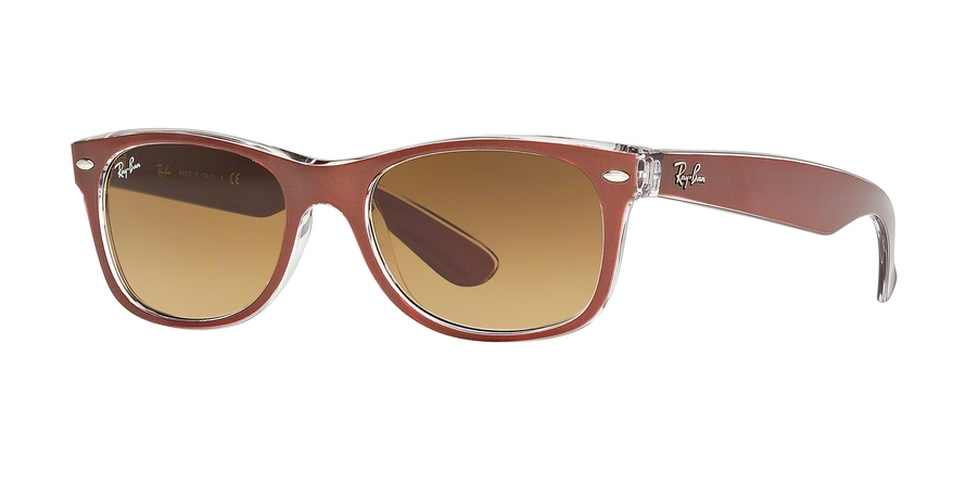 Ray-Ban Model: RB 2132 NEW WAYFARER, Colour Code: 614585, Frame Colour: Top brushed brown on transparent