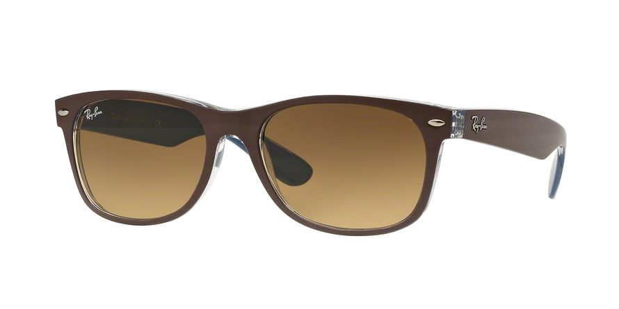 Ray-Ban Model: RB 2132 NEW WAYFARER, Colour Code: 618985, Frame Colour: Top matte chocolate on blue