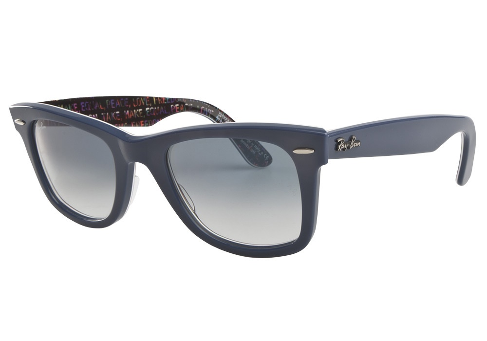 Ray-Ban Model: RB 2140 ORIGINAL WAYFARER, Colour Code: 1092 3F, Frame Colour: Blue special edition print