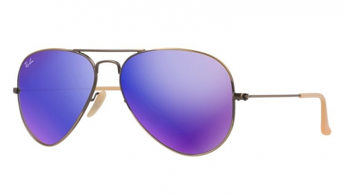 Ray-Ban Model: RB 3025 LARGE METAL AVIATOR, Colour Code: 167/1M, Frame Colour: Brushed bronze demi shiny