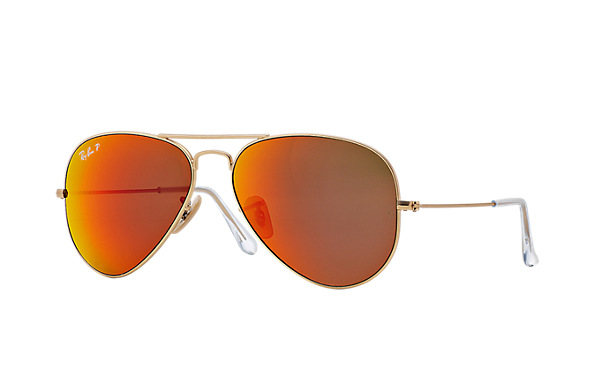 Ray-Ban Model: RB 3025 LARGE METAL AVIATOR, Colour Code: 1124D, Frame Colour: Matte gold